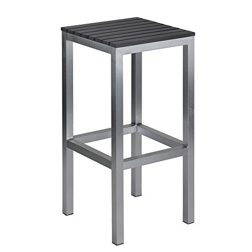 Haven Aluminum Outdoor Backless Barstool In Slate Grey